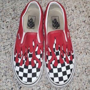 Red drip checkered Vans slip ons